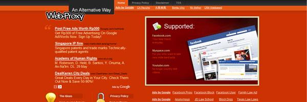 Preview - Orange Web2.0 Glype Proxy Theme